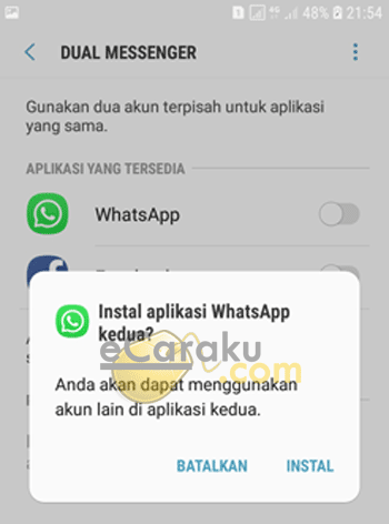 Install 2 WhatsApp di Android Samsung