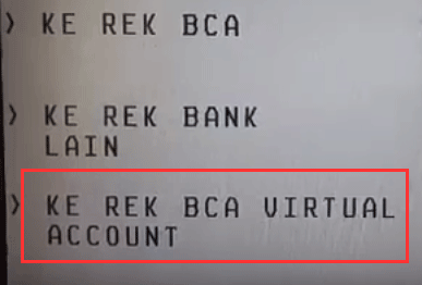 pilih ke BCA Virtual Account