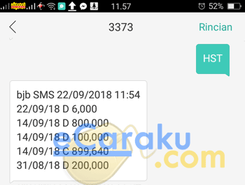 Cek Mutasi Bank BJB via SMS