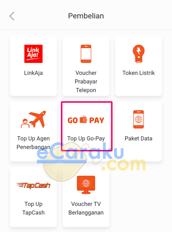 Pilih Top Up Go-Pay