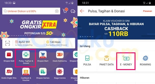 Cara Top Up E-Toll Mandiri Di Shopee Lewat HP