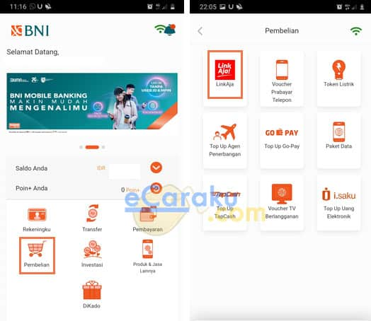 Cara Top Up LinkAja Pakai BNI Mobile Banking