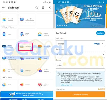 Top Up Brizzi di HP Android
